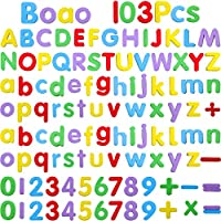 Boao Foam Magnetic Letters and Numbers for Kids 103 Pieces Alphabet Refrigerator Magnets for Learning (0.8-1.2 Inches)