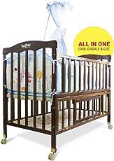 Baybee Boris Premium Deluxe Handcrafted Elegant Wooden Baby Cradle | Comfort Wood On Point Bassinet for Newborn Baby
