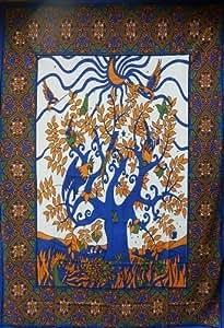 PaONS CELTIQUE BLEU ORANGE TREE OISEAUX BEADSPREAD PaRURE DE LIT HOUSSE DE CANAPÉ/COUVRE-LIT