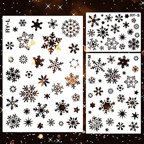 Womdee Weihnachts Schneeflocken Schablonen Set, Papierschablonen Weihnachten,3 Stück Kunststoff Zeichnung Malerei Schablone für Bullet Journal,Scrapbooking,Fotoalbum, Weihnachtskarten,weihnachtsdeko