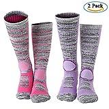 Diealles 2 Paires Chaussettes de Ski Thermiques et Respirantes pour Femme (M 35-39)