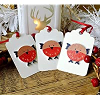 3 x Luxury Wooden Christmas Gift Tags, Handmade Cute Winter Robin Red Breast Xmas Hang Tags