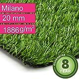 Kunstrasen Rasenteppich Milano für Garten - Florhöhe 20 mm - Gewicht ca. 1886 g/m² - UV-Garantie 8 Jahre (DIN 53387) - 2,00 m x 2,00 m | Rollrasen | Kunststoffrasen