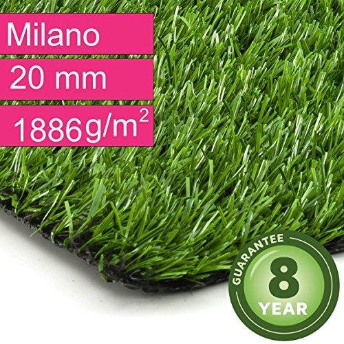 Kunstrasen Rasenteppich Milano für Garten - Florhöhe 20 mm - Gewicht ca. 1886 g/m² - UV-Garantie...