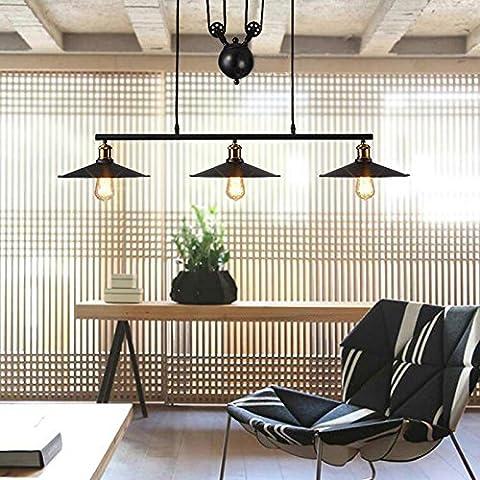 Hahaemall Creative Pulley Design Black Iron Painted 3-Lights Island Light Bar Retro Hanging Lamp 3 Heads (Bulbs Not