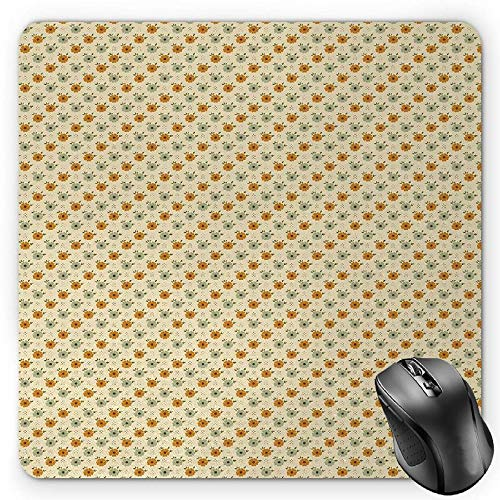 BGLKCS Floral Mauspads,Old Fashioned Flower Corsage Poppy Petals Spring Blossoms Pattern,Standard Size Rectangle Non-Slip Rubber Mousepad,Beige Amber Pale Sage Green - Amber Blossom