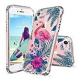 MOSNOVO iPhone 8 Hülle, iPhone 7 Hülle, Tropisch Flamingo Blumen Muster TPU Bumper mit Hart Plastik Hülle Durchsichtig Schutzhülle Transparent für iPhone 7 (2016) / iPhone 8 (2017), iPhone 7/8 Case