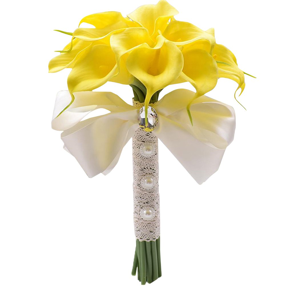 BESTOYARD Ramo de Novia de Calla con Ribbon Flores para Boda Nupcial Dama de Honor Banquete (Blanco)