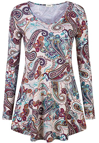 KorMei Damen Swing A-Linie Asymmetrisch Tie-Dye Stretch Langarmshirt Hemd Tunika Paisley Rot S (Shirt Stretch-fit)