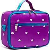 BLUEFAIRY Girls Insulated Lunch Bags for Toddler Kids Lunchbag for School Outdoor Camping Food Cooler Lunchbox Box Carrier (P