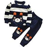 SMARTLADY 2-5 años Niño Niña Oso Rayado Patrón Tops + Pantalones Otoño/ Invierno Ropa Conjuntos (3 años, Navy)