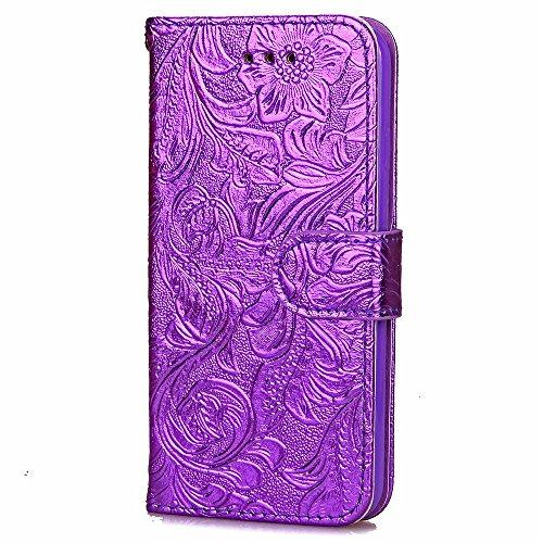 Wkae Case Cover Haute qualité Housse en cuir TPU couverture PU, motif de fleurs Wallet Case Support Window Case photo pour l'iPhone 7 ( Color : Rose , Size : IPhone 7 ) Purple