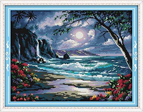 YEESAM-Kit da ricamare a punto croce-il mare della luna 14K 43x 34cm Tela Croce cucito fai da te ricamo Set Bianco Fatto A Mano Regalo Di Natale Kit per punto croce