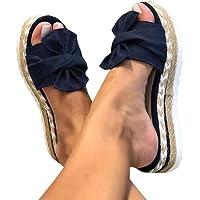 Onsoyours Damen Sandalen Casual Damen Sommer Wedge Peep Toe High Heel Plattform Pantoletten Flache Schuhe