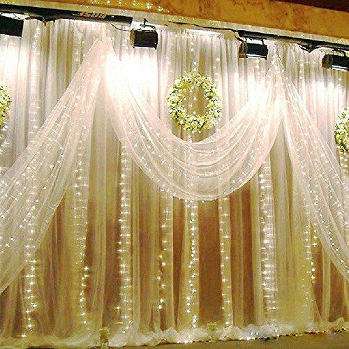 JZK® 3 m x 3 m LED luci tenda luminosa a cascata ghiaccioli decorazioni matrimonio albero di Natale giardino casa luce stringa fata festa lucine per interno esterno, bianco