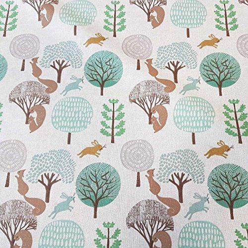 Stoff Meterware Baumwolle Braun grün Hase Eichhörnchen Wald Bäume Dekostoff Tischdeckenstoff