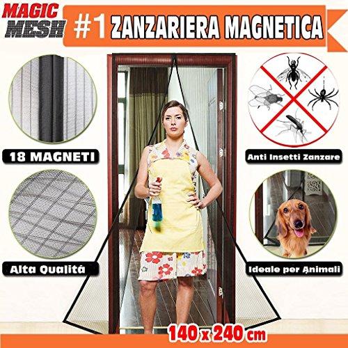 Bakaji zanzariera magnetica universale 140 x 240 cm nera 18 magneti tenda per porte magic mesh anti insetti mosche zanzare