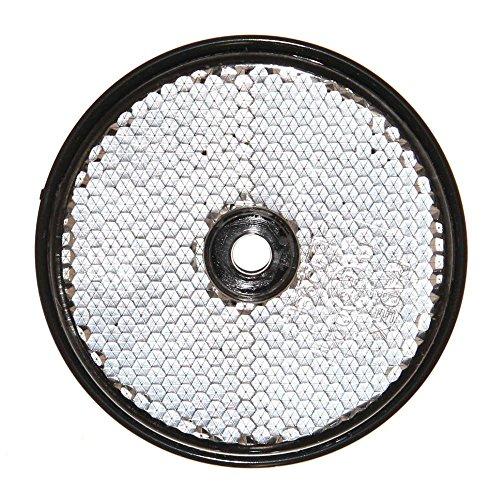 1 Reflektor Rund mit Loch 60mm Weiß e-geprüft Markierung für Trailer NFZ Anhänger anschraubbar Neu Otto-Harvest