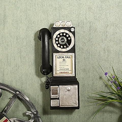BEEST-Die alten Vintage Telefon hängen Ornamente kreativ Cafe Restaurant shop Wandschmuck, A, schwarz