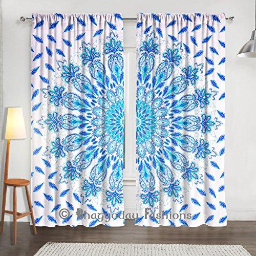 """Pavo real indio Mandala ventana cortinas, cortina de DRAPE hecha a mano tapiz habitación separador 84x 80"""""""
