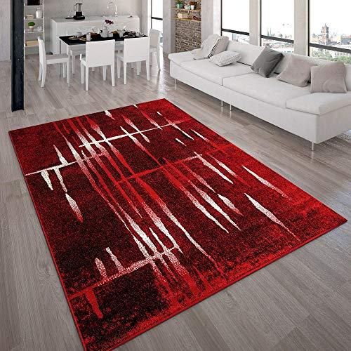 Paco Home Designer Teppich Modern Trendiger Kurzflor Teppich in Rot Creme Meliert, Grösse:70x140 cm