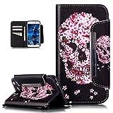 Galaxy S5 Neo Hülle,Galaxy S5 Hülle,Bunte Gemalt Malerei Muster PU Lederhülle Schutzhülle Handyhülle Taschen Handy Tasche Flip Wallet Ständer Schutzhülle für Galaxy S5,Kirschblüten Blumen Schädel