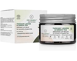 Juicy Chemistry Organic Lip Balm, Tuscany Lemon & Green Tea Lip Care for Chapped Lips, 5 gm Natural Lip Balm for Tanned Lips