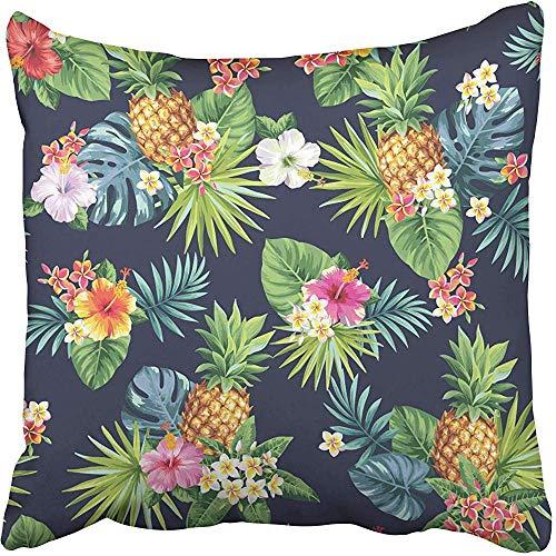 MAMAARE Federa di cuscino decorativo Federa floreale Hawaiian con ananas Foglie di palma e fiori tropicali Aloha Beach Bloom