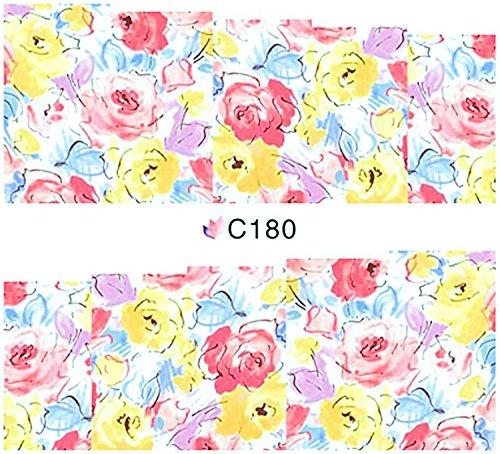 1 planche de Slider/Wrap/Full Cover Nail Stickers pour ongles, Hydrosoluble : C de 180 fleurs délicates