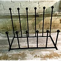 6 WROUGHT IRON BLACK METAL FAMILY CHILD WELLY WELLINGTON WALKING BOOT RACK STAND