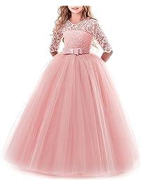 OBEEII Vestidos de Fiesta Boda Ceremonia Vestido Largo de Princesa Encaje de Flores Media Manga para