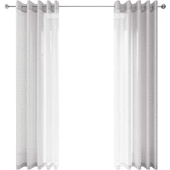 Ideal Textiles Pair Chicago Metallic Print Voile Curtains