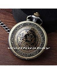 ShopyStore New Bronze Antique Classic Totem Men Quartz Pocket Watch With Fob Chain Pendent Arabic Nu