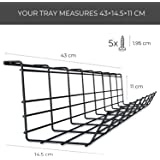 INDIAN DECOR. 21390 Metal Under Desk Cable Management Tray Organizer for Wire (Black, 17 Inch)