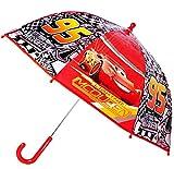 Unbekannt Regenschirm -  Disney Cars - Auto Lightning McQueen  - Kinderschirm - leicht transparent Ø 73 cm - Kinder Stockschirm - durchsichtig - Schirm Kinderregensch..