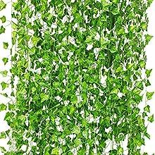 CQURE Artificial Ivy Garland,Ivy Garland Fake Ivy UV Resistant Fake Vine Green Leaves Fake Plants Hanging Vine Plant for Wedding Party Garden Wall Decoration 5 Packs