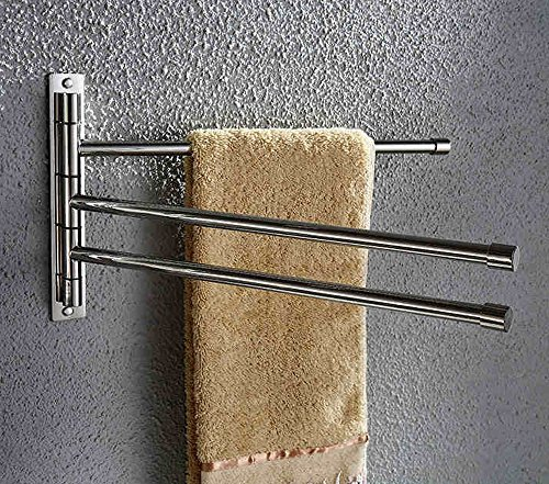"BTSKYâÂ""¢ New Wall-Mounted Stainless Steel Bathroom Kitchen Towel Rack Holder with Extra Long 3 Bars Swivel Bars by BTSKYâÂ""¢"