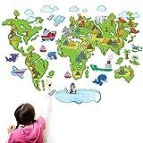 ufengke® Cartoon Bunten Weltkarte Schönen Tiere Niedlich Delfinen Pinguin Wandsticker, Kinderzimmer Babyzimmer Entfernbare Wandtattoos Wandbilder