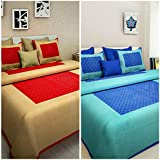 Cotton Combo Bed Sheet (Suraaj Fashion 100% Cotton Combo Set Of 2 Double Bedsheet With 4 Pillow Covers)