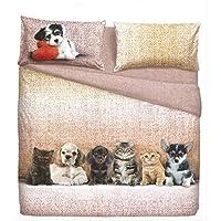 Juego Sábanas Cama Individual 1plaza Bassetti Dogs & Cats efecto Colcha