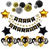 Weimi Happy Birthday Banner Recosis Birthday Bunting Paper Garland with 12pcs Tissue Paper Pom Poms and 20pcs Balloons for Birthday Party Decorations - Black, Gold and Silver