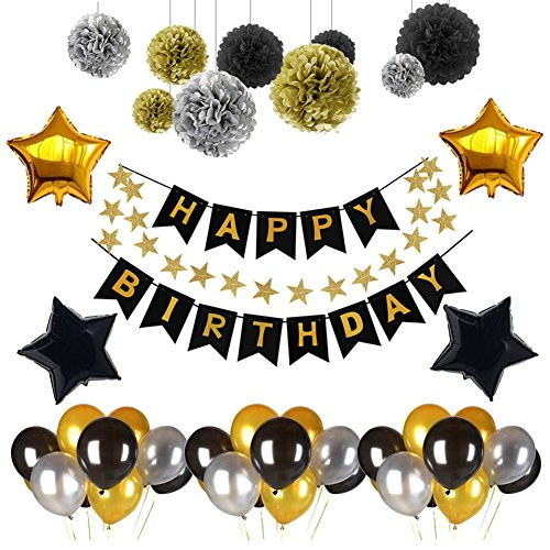 (Weimi Happy Birthday Banner Recosis Birthday Bunting Paper Garland with 12pcs Tissue Paper Pom Poms and 20pcs Balloons for Birthday Party Decorations - Black, Gold and Silver)