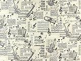 Dekostoff Classic Music Notes, creme, Meterware ab 0,5 m