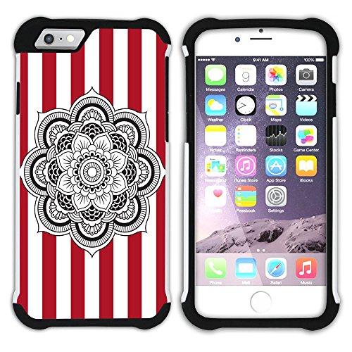 Graphic4You Mandala Blume Streifenmuster (Lila) Hart + Weiche Kratzfeste Hülle Case Schale Tasche Schutzhülle für Apple iPhone 6 Plus / 6S Plus Rot