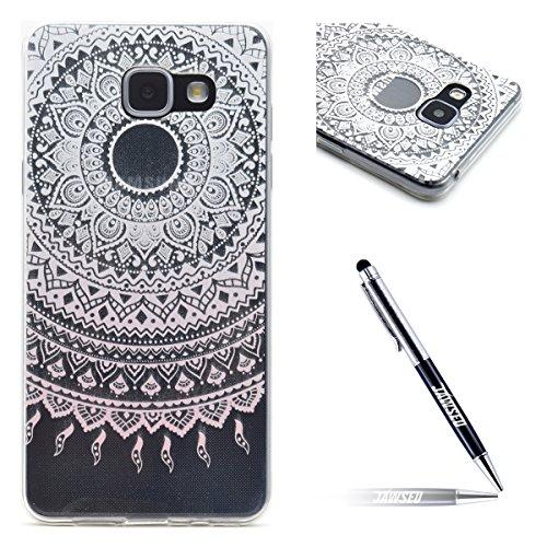 Galaxy A5 2016 Hülle,Galaxy A5 2016 Silikon hülle,JAWSEU Transparent TPU Silikon Handyhülle Kratzfest Durchsichtige Schutzhülle Case für Samsung Galaxy A5 2016, Pink Henna Blumen - Pink Henna