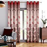 Story@Home Berry Blackout Combo Contemporary Pattern Set of 2 Piece Jacquard Door Curtains