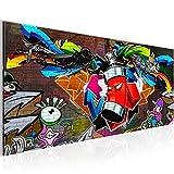 Bilder Graffiti Streetart Wandbild 100 x 40 cm Vlies - Leinwand Bild XXL Format Wandbilder Wohnzimmer Wohnung Deko Kunstdrucke Rot 1 Teilig -100% MADE IN GERMANY - Fertig zum Aufhängen 401812a