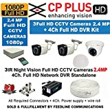 EAGLE EYE Cp Plus CCTV Full HD CP-UVR-0401E1S 4CH DVR 01 Pcs + Cp Plus Full HD 2.4mp Dome IR CCTV Camera 1Pcs + Cp Plus Full HD 2.4mp Bullet IR CCTV Camera 2 Pcs +1TB HDD + 4-CH Power Supply 1 Pcs + BNC & DC Connectors & 3+1wire Roll 1-pc + FREE D