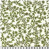 alfa HOME Baumwoll-Druck, Blumenranken, wollweiß/grün, ca. 145 cm Breit, Meterware