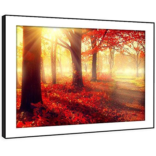 BFC532D gerahmte Bild Wand kunst- rote Blätter im Herbst Waldweg Moderne Malerische Landschaft Wohnzimmer Schlafzimmer Stück Wohnkultur Leicht Hang Guide (72X51cm)